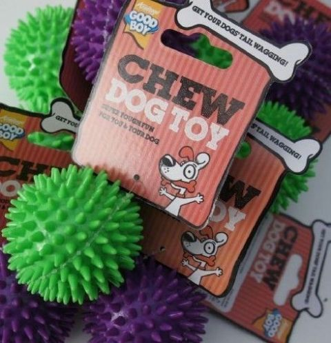 PUPPY DOG CHEW TOY GOOD BOY SPIKY BALLS X 15 GREEN/PURPLE BOUNCY DOG BALLS